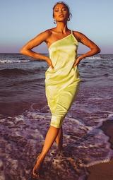 Lime Asymmetric Satin Midi Dress 1