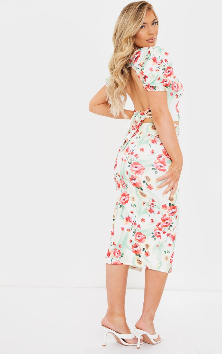 Multi Floral Print Puff Sleeve Cut Out Ruched Midi Dress 2