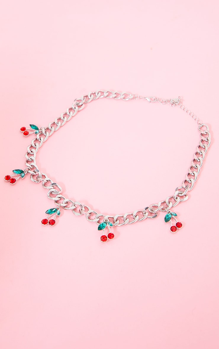 Silver Cherry Chain Necklace 1