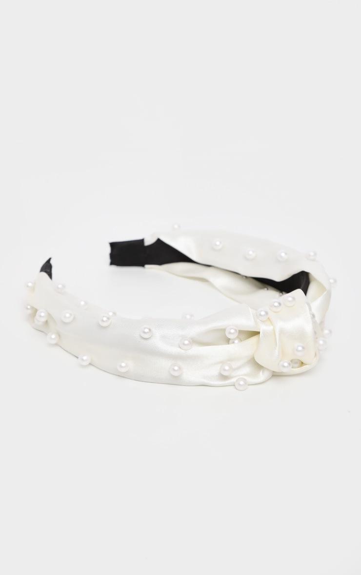 Cream Satin Pearl Detail Headband 2