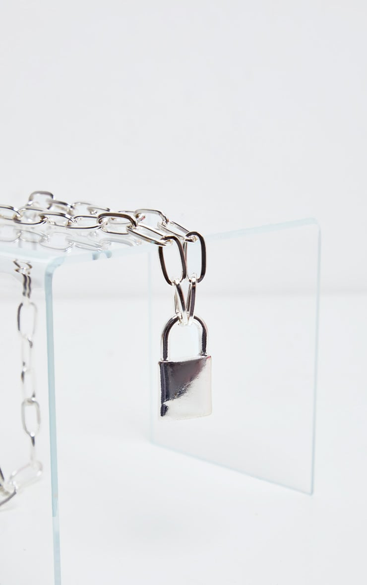 Silver Padlock Chunky Chain Necklace 3