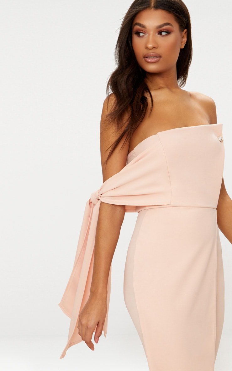 Nude Tie Detail Wrap Front Bandeau Midi Dress 5