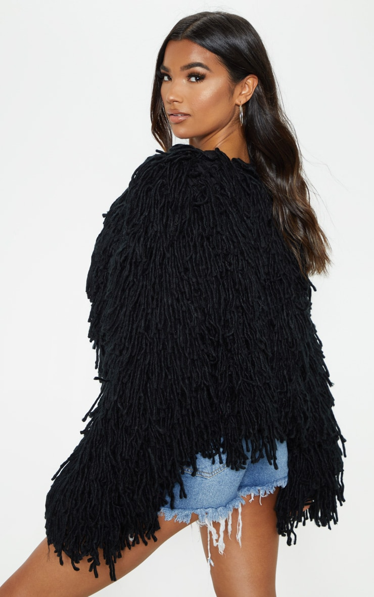Black Shaggy Knit Cropped Cardigan 2