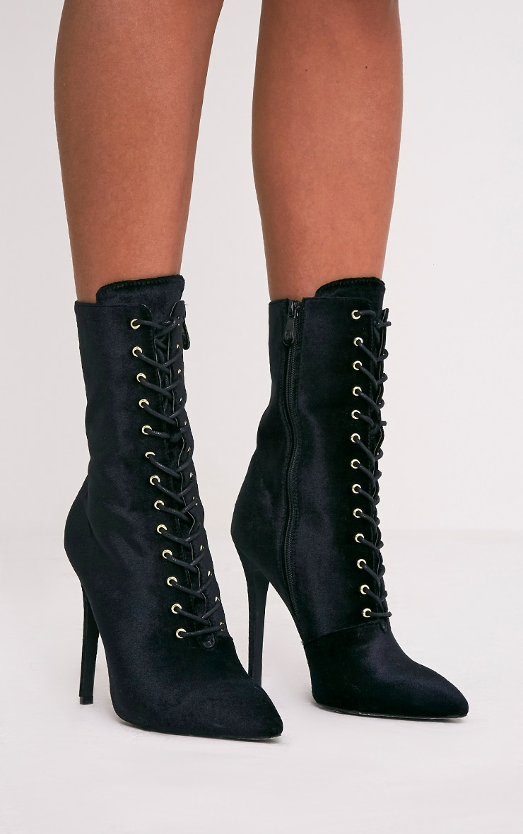 Savia Black Velvet Lace Up Heeled Boots 3