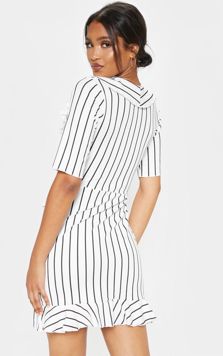 White Stripe Frill Detail Wrap Dress 2