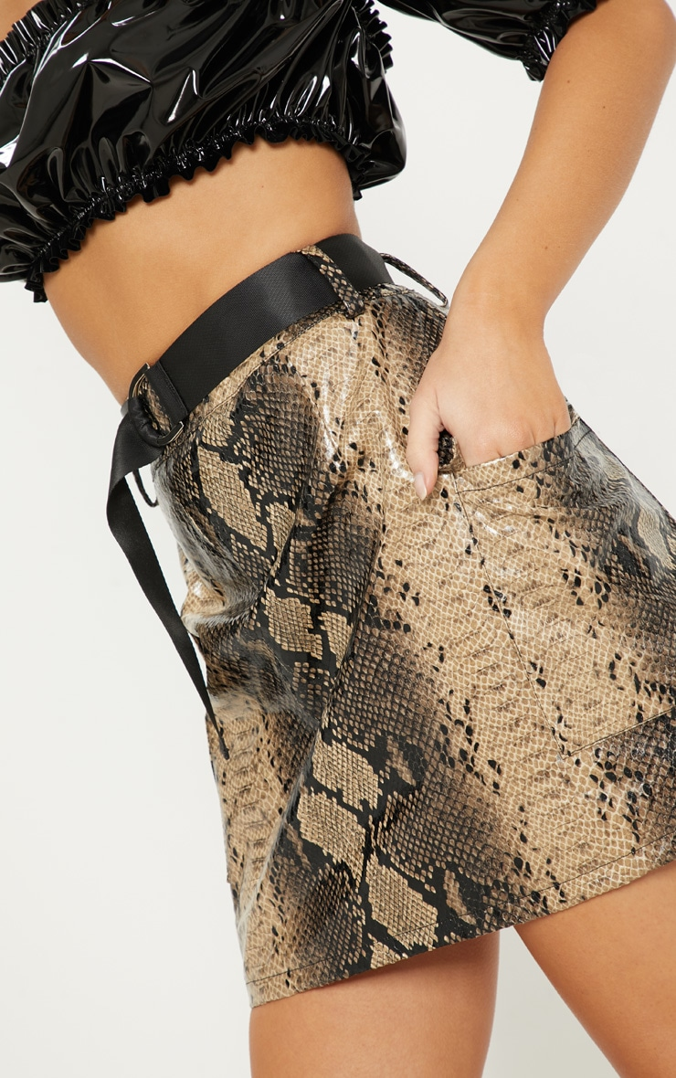 Brown Faux Leather Snakeskin Belted Mini Skirt 6