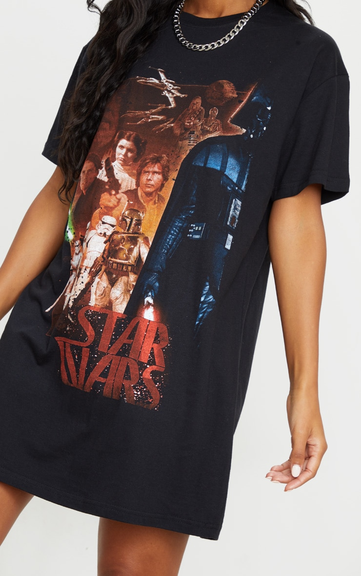 Black Star Wars Slogan T Shirt Dress 4