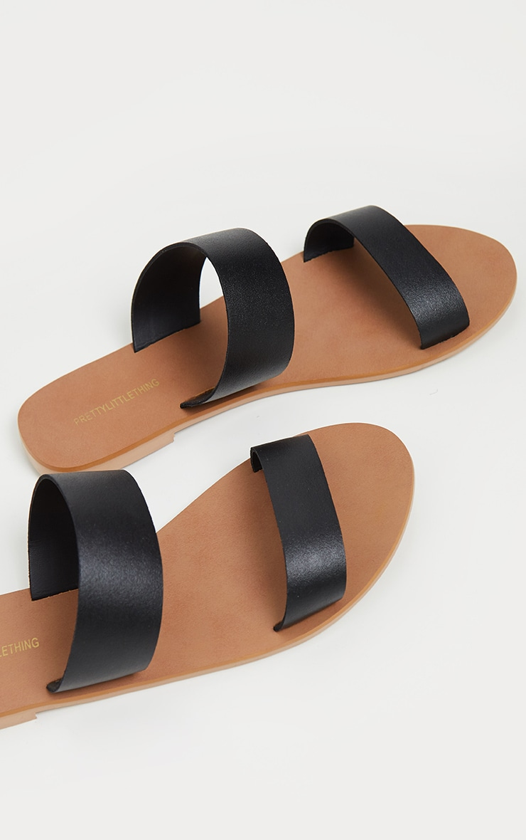Black Twin Strap Basic Leather Sandal 4