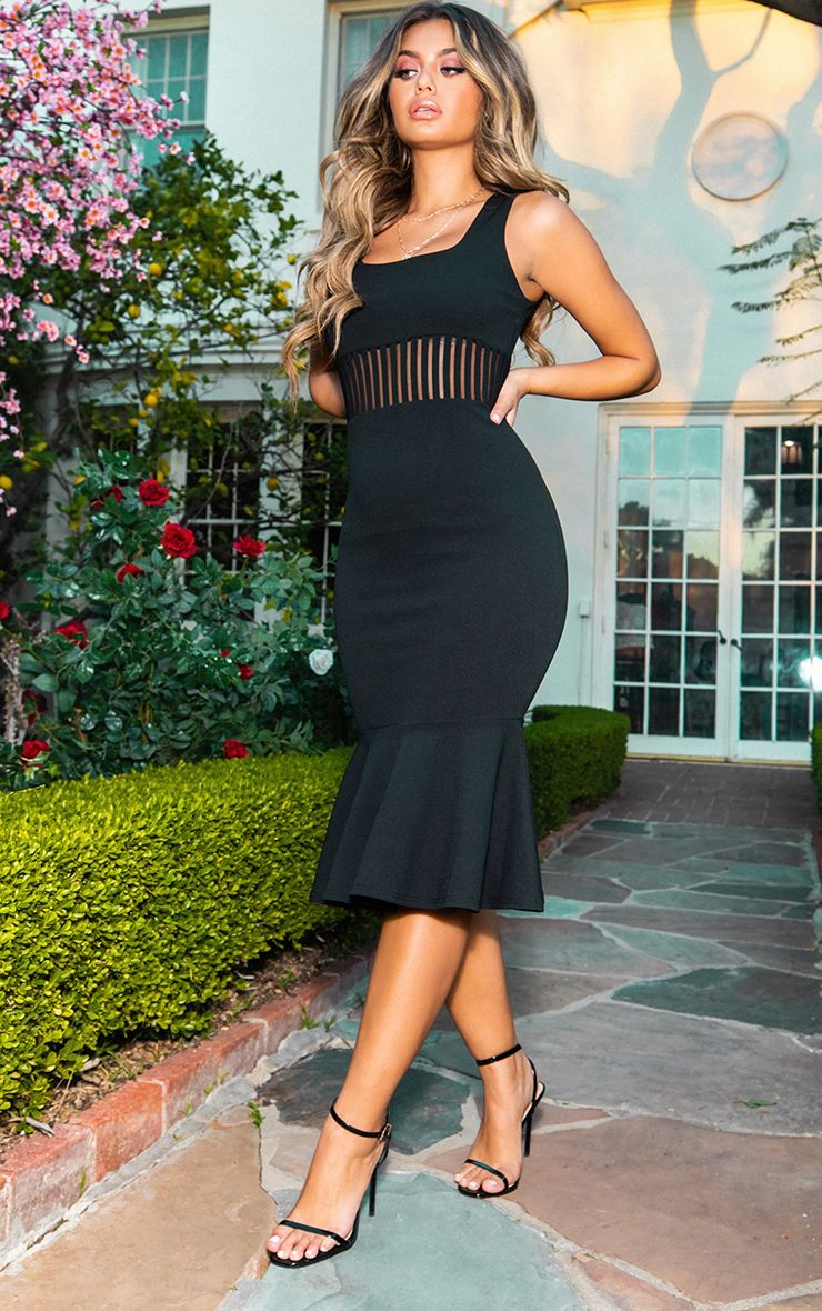 Black Stripe Mesh Panel Midi Dress 1