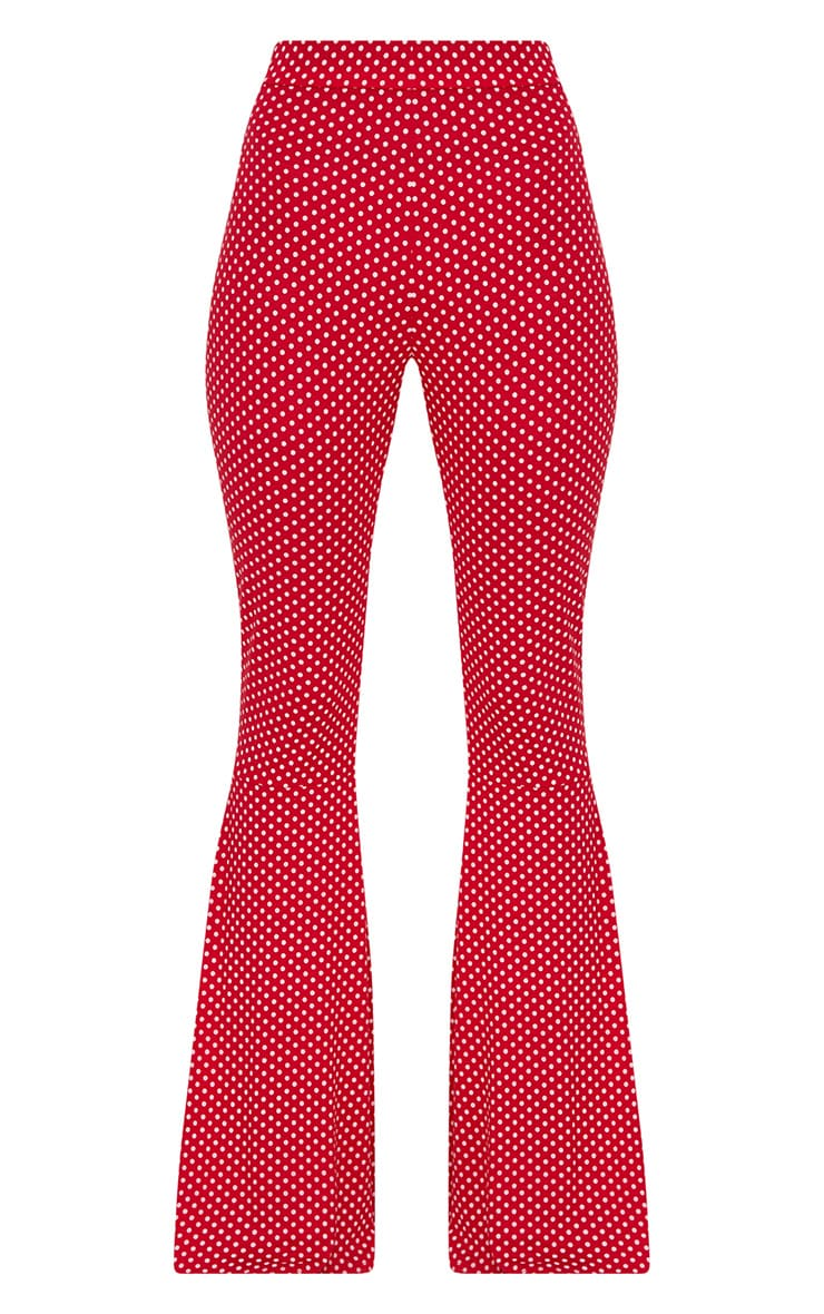 Red Polka Dot Flared Leg Trousers 3