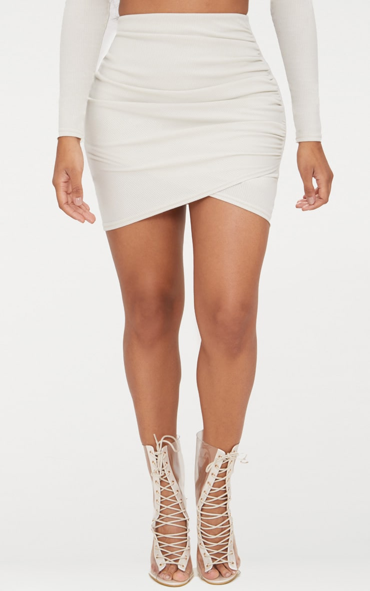 Shape Stone Ribbed Bodycon Skirt 2