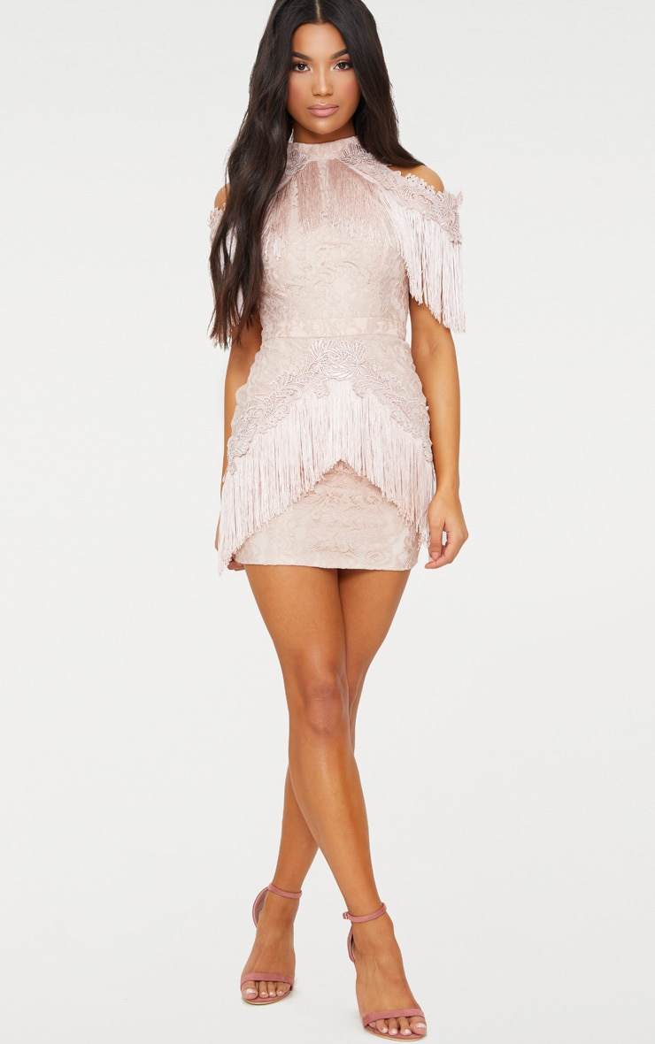 Dusty Pink Cold Shoulder Lace Tassel Trim Bodycon Dress 4