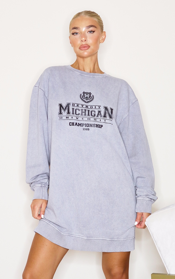 Charcoal Michigan Slogan Oversized Sweater Dress 1