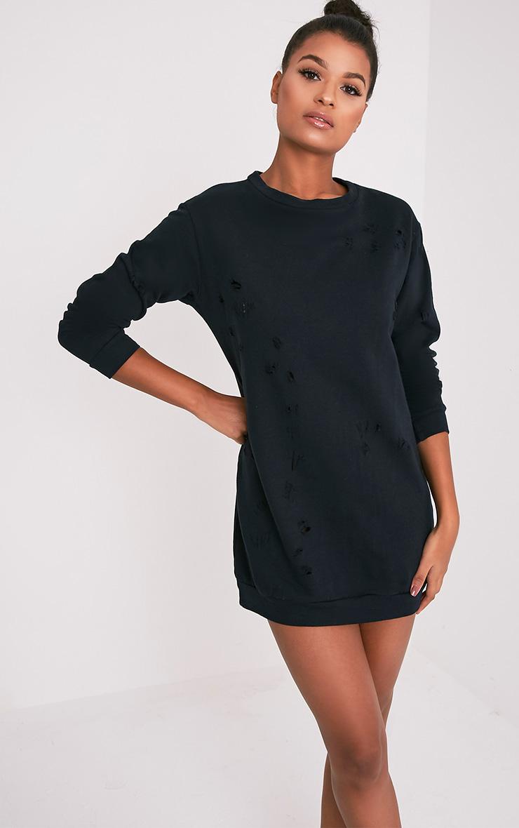 Violet robe sweat manches longues aspect vieilli noire 1