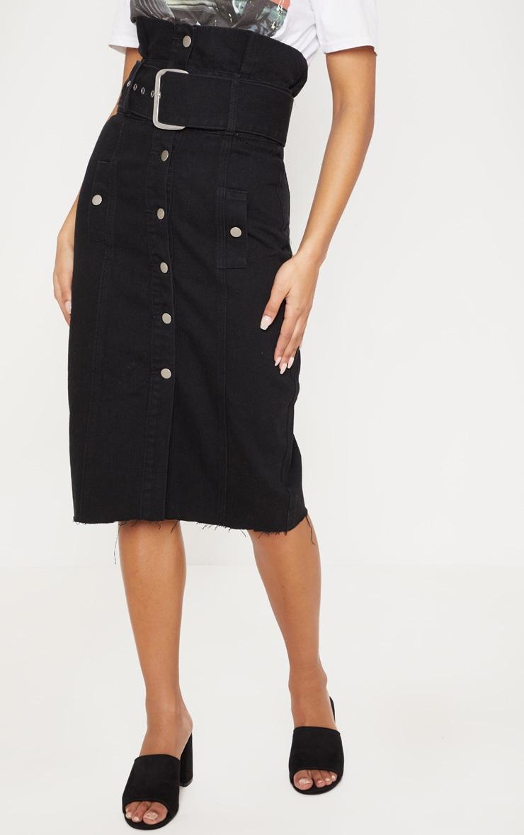 Black Belted Button Through Midi Skirt 2