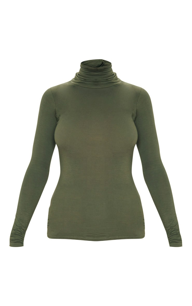 Basic Khaki Long Sleeve Roll Neck Top 3
