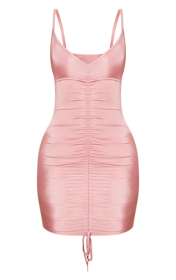 Shape Dusty Pink Slinky Ruched Front Strappy Bodycon Dress 4
