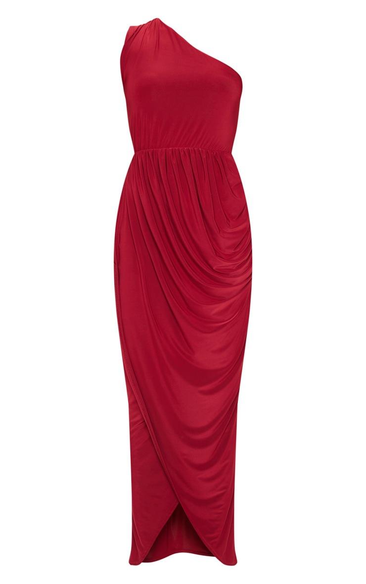 Burgundy Slinky Drape Detail One Shoulder Maxi Dress 3