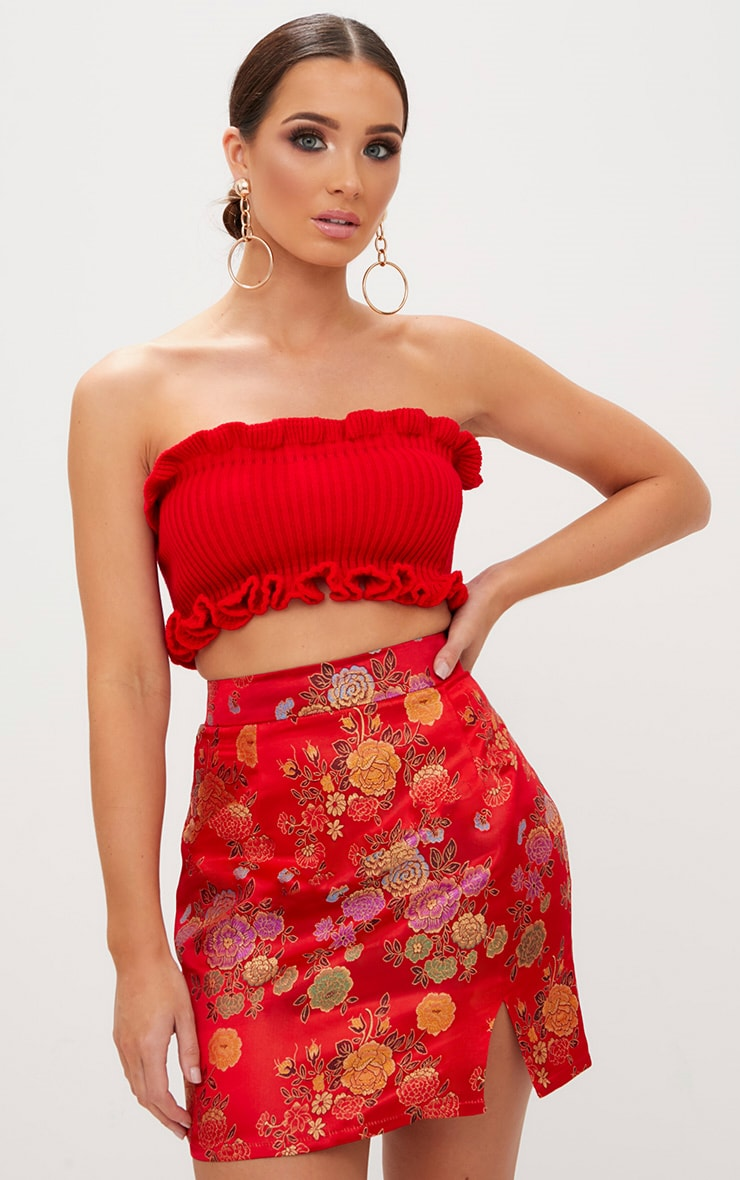 Red Ruffle Detail Knit Tube Top 1