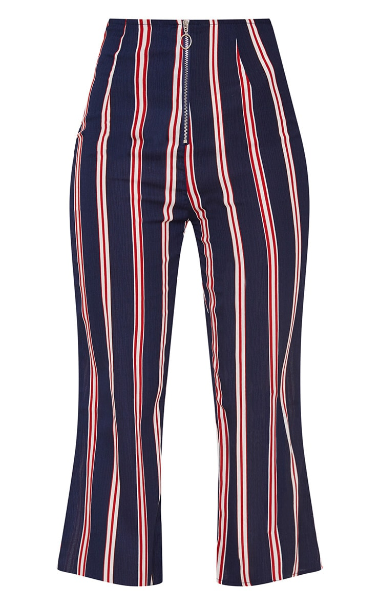 Navy Stripe Ring Zip Cropped Trousers 3