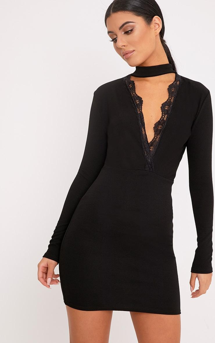Gia Black Lace Trim Choker Neck Bodycon Dress 1