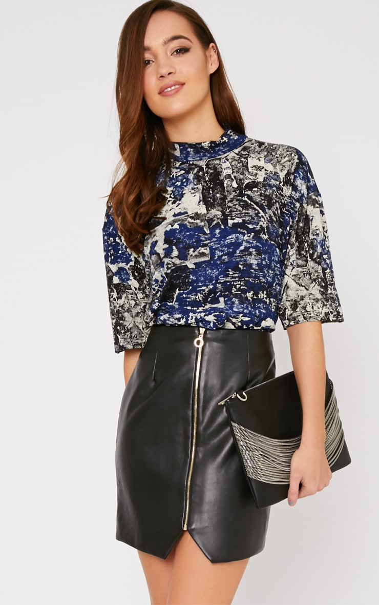 Shyla Blue Abstract Turtle Neck Crop Top  5