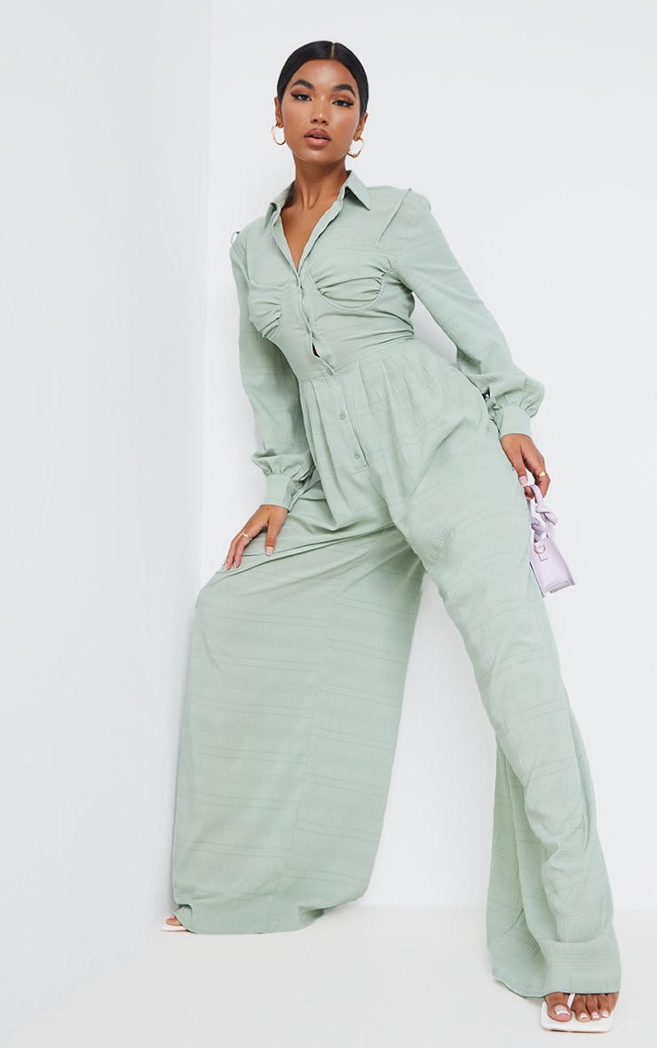 Sage Green Ruched Cup Wide Leg Shirt Jumpsuit 3