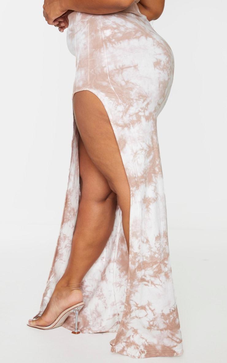 Plus Stone Tie Dye Rib Panel Split Detail Maxi Skirt 3
