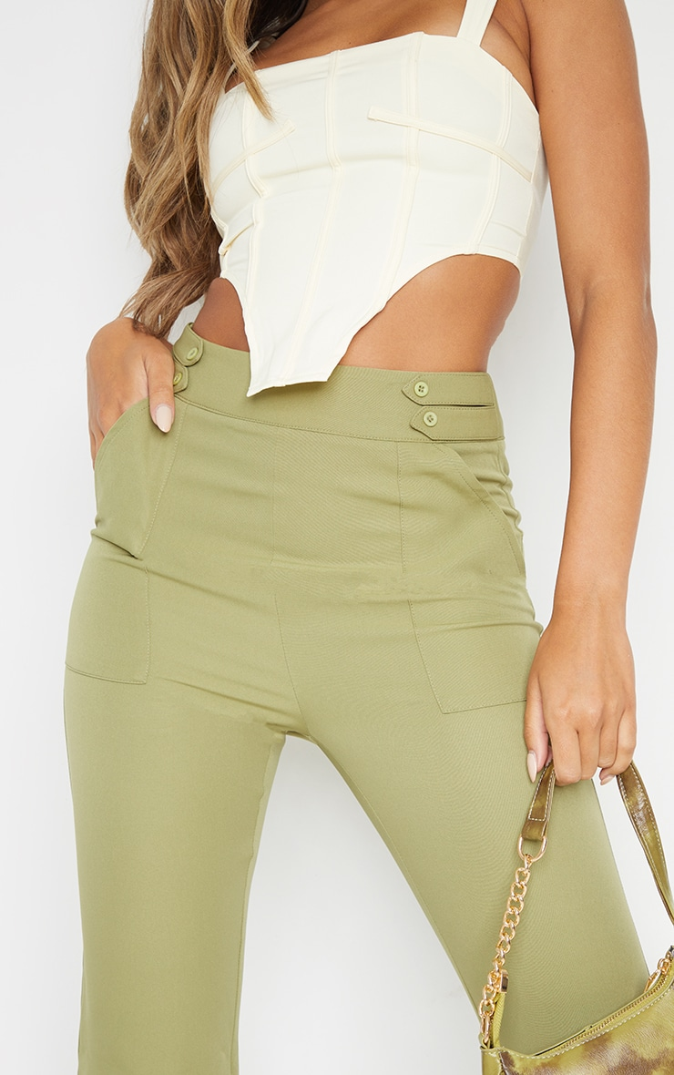 Sage Green Woven Double Button Detail Wide Leg Trousers 4