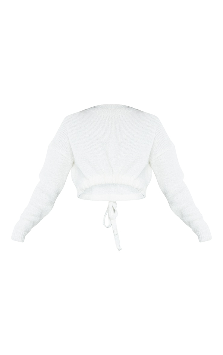 Cream Drawstring Knitted Boucle Crop Sweater 5