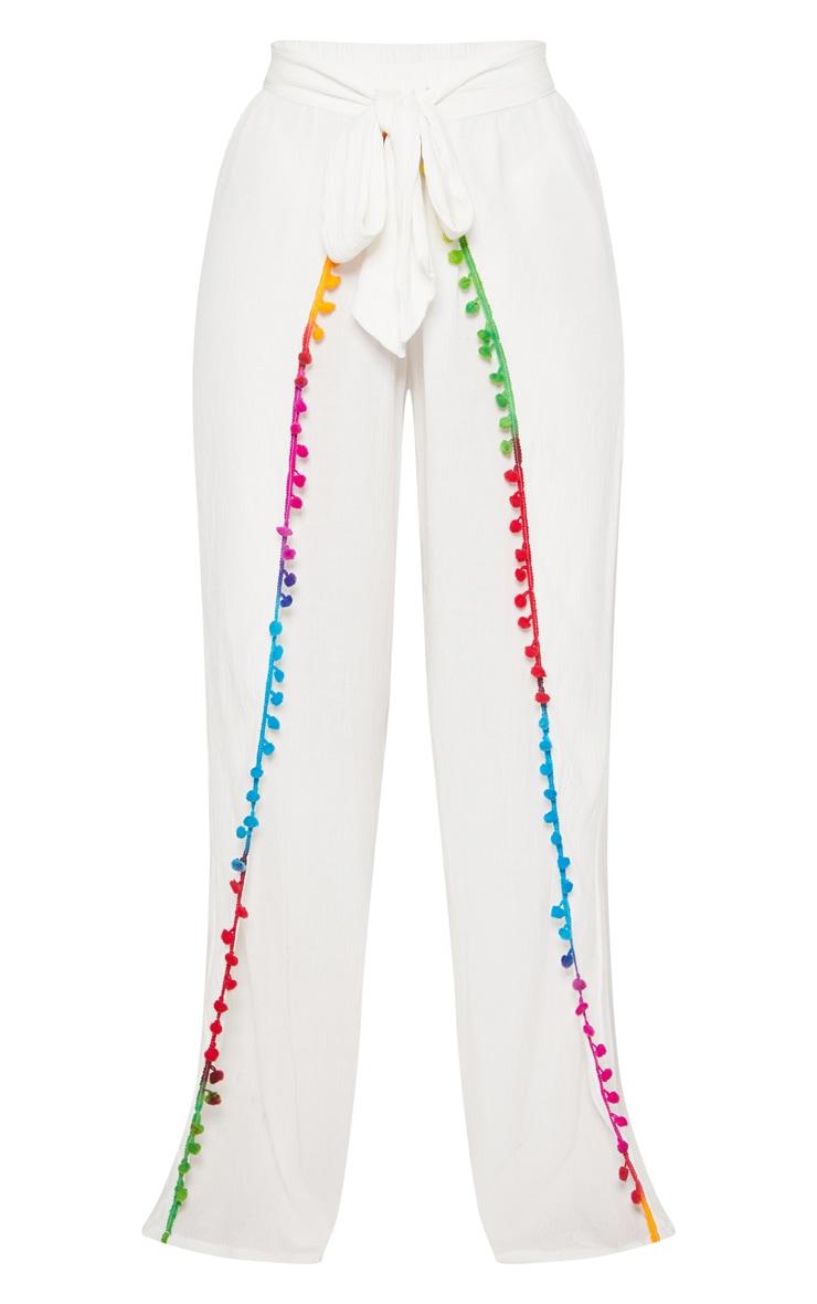 White Pom Pom Tie Waist Trouser 3