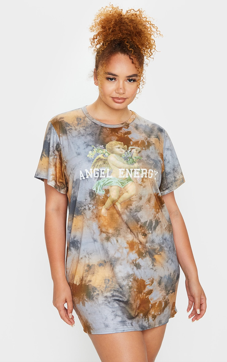 Plus Stone Tie Dye Angel Energy T Shirt Dress 3