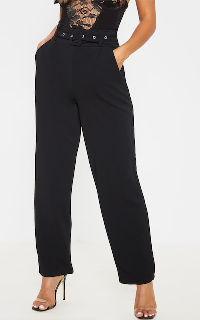 Petite Black Belted Straight Leg Trouser