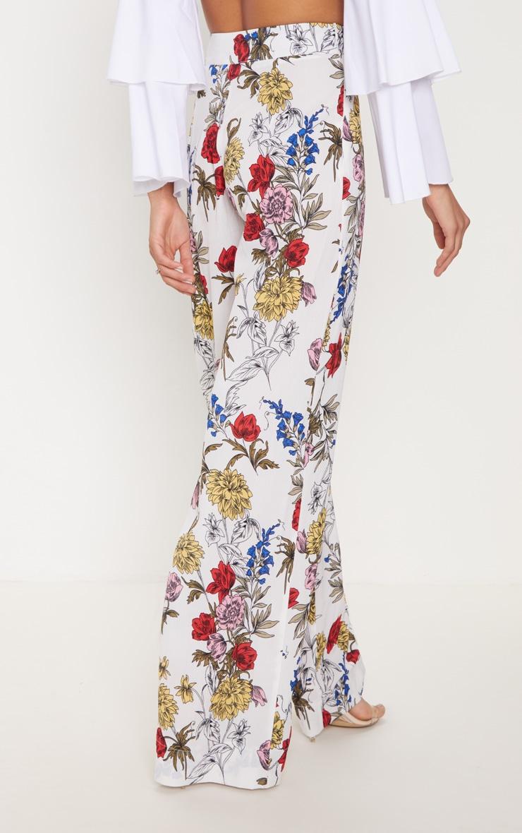 Pantalon ample blanc imprimé floral 4