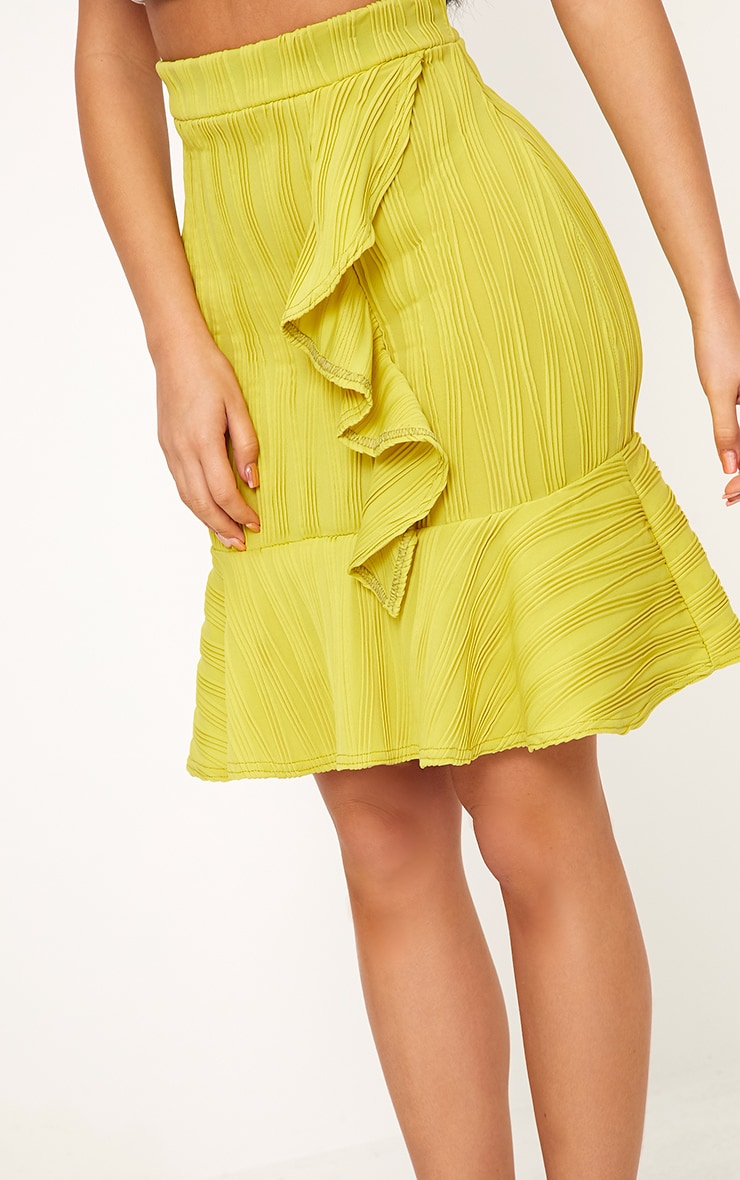 Shape Caterina Chartreuse Frill Detail Mini Skirt 6