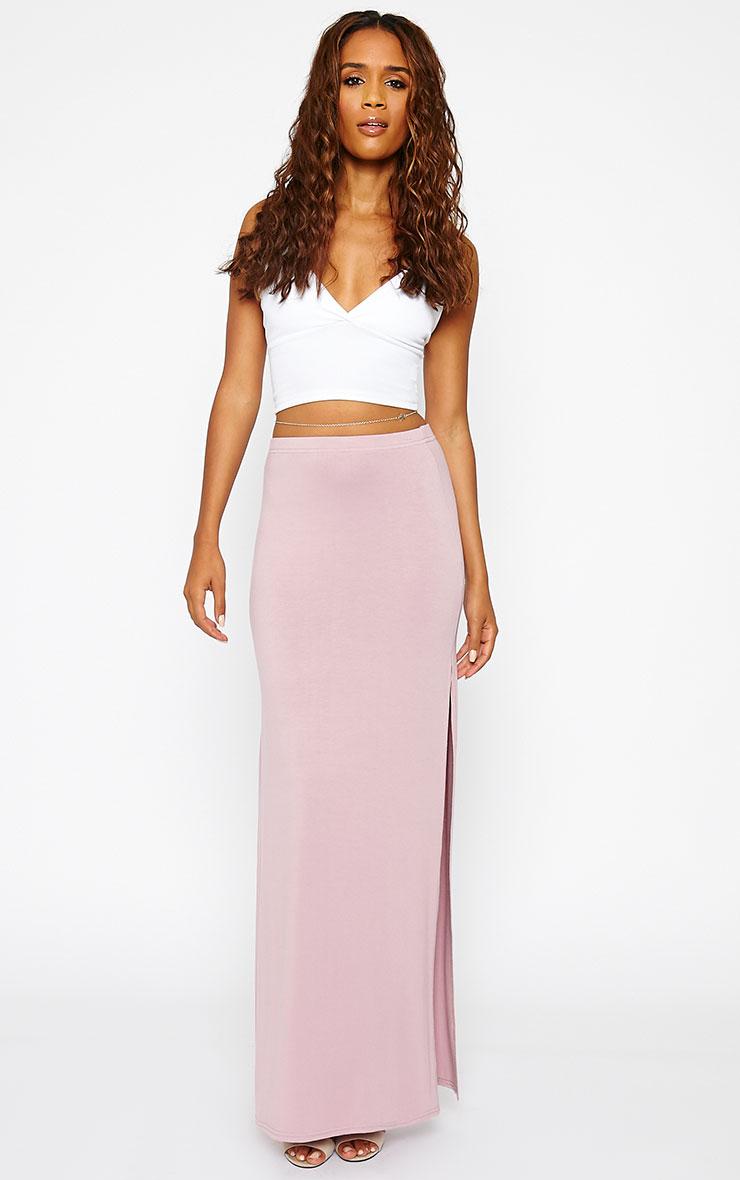 Kayley Mauve Split Jersey Maxi Skirt 5