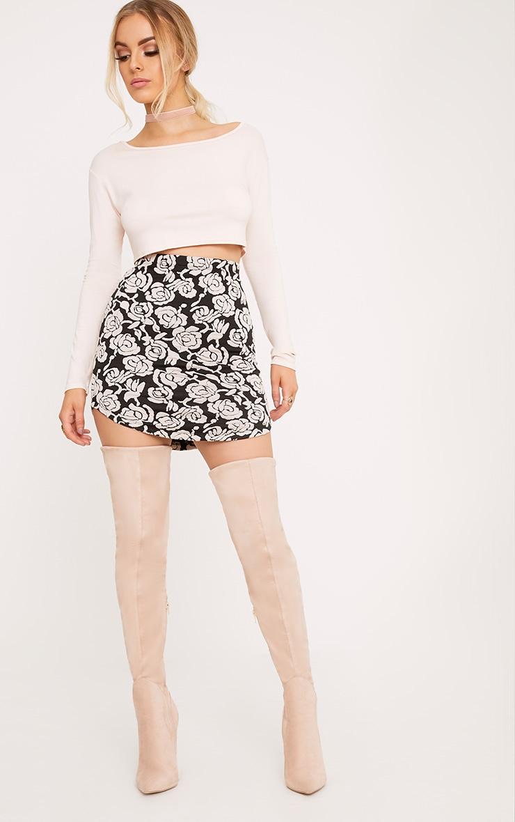 Shayla Nude Floral Textured Curve Hem Mini Skirt 5