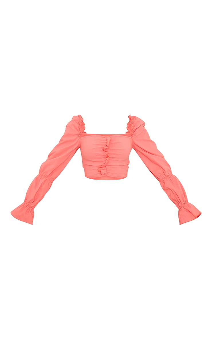 Coral Woven Frill Stretch Ruched Front Long Sleeve Crop Top 5