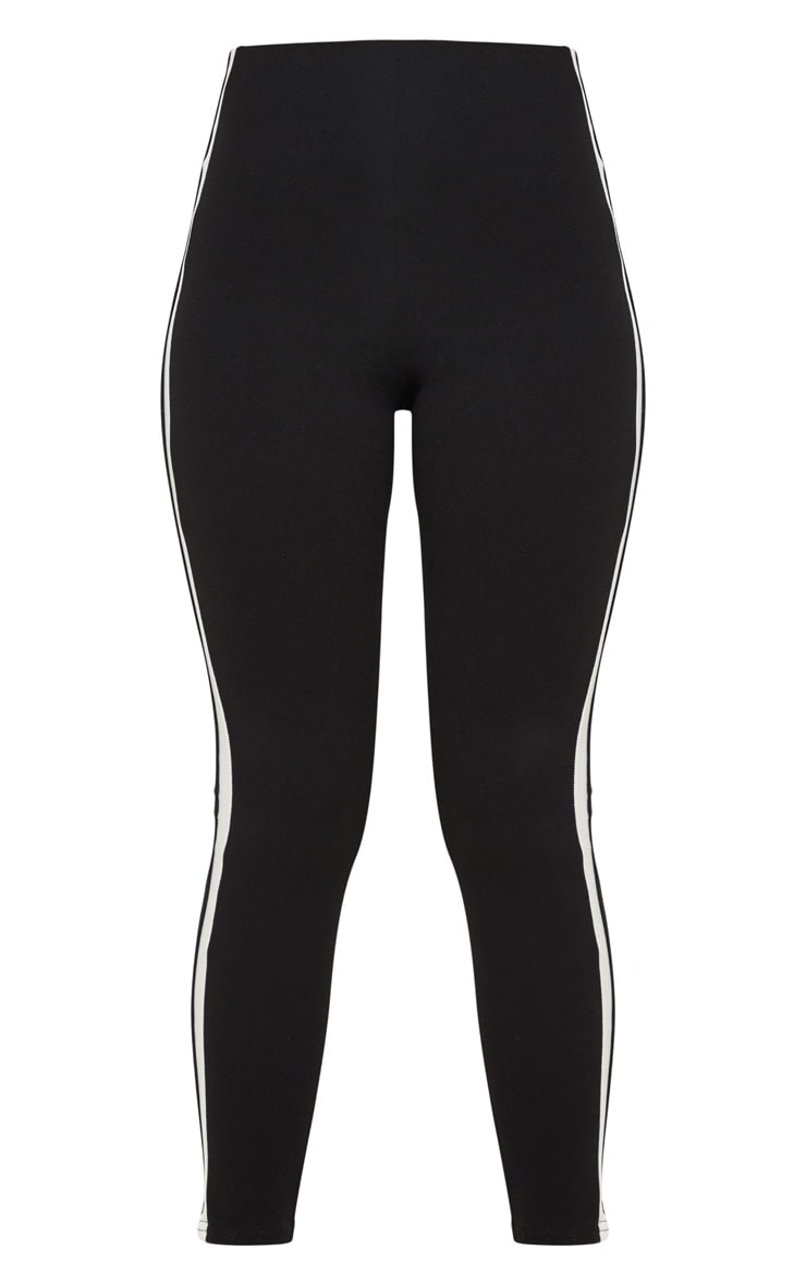 Black High Waisted Side Stripe Leggings 3