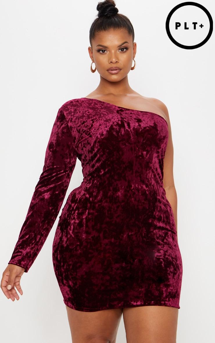 Plus Burgundy Velvet Asymmetric Bodycon Dress | PrettyLittleThing AUS