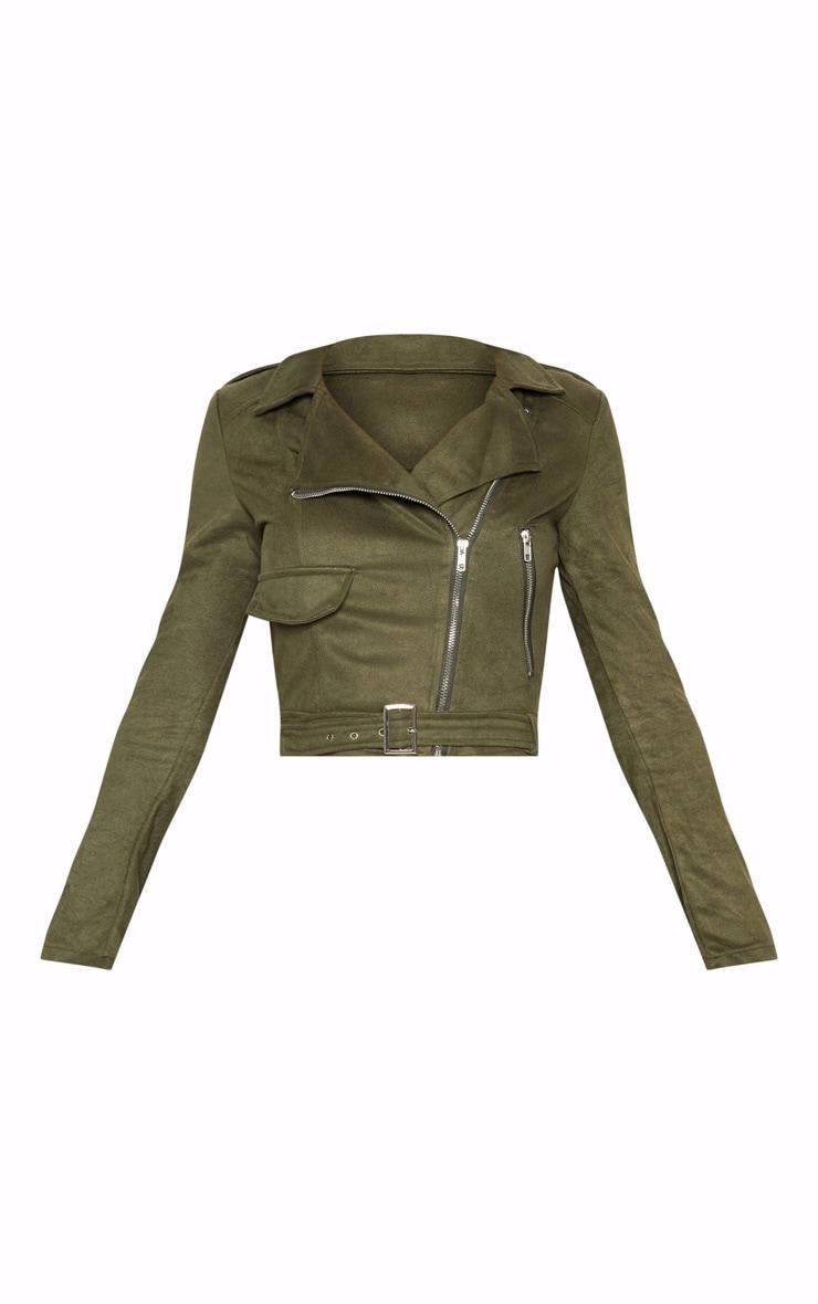 Niki Khaki Faux Suede Biker Jacket 3