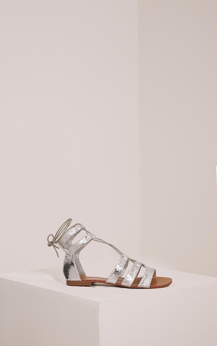 Bethan Silver Metallic PU Snakeprint Gladiator Sandals 2