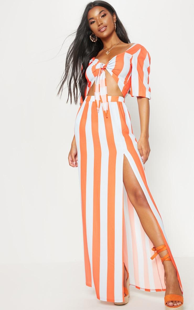 Orange Stripe Pebble Crepe Split Maxi Skirt
