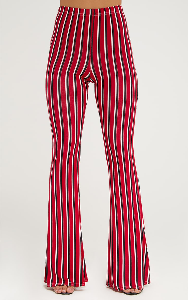 Red Jersey Vertical Stripe Flared Trousers 2