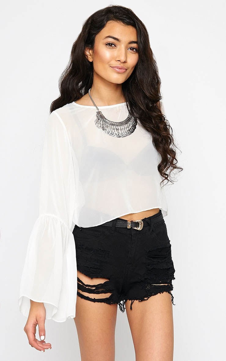 Evelin White Chiffon Drop Sleeve Top 1