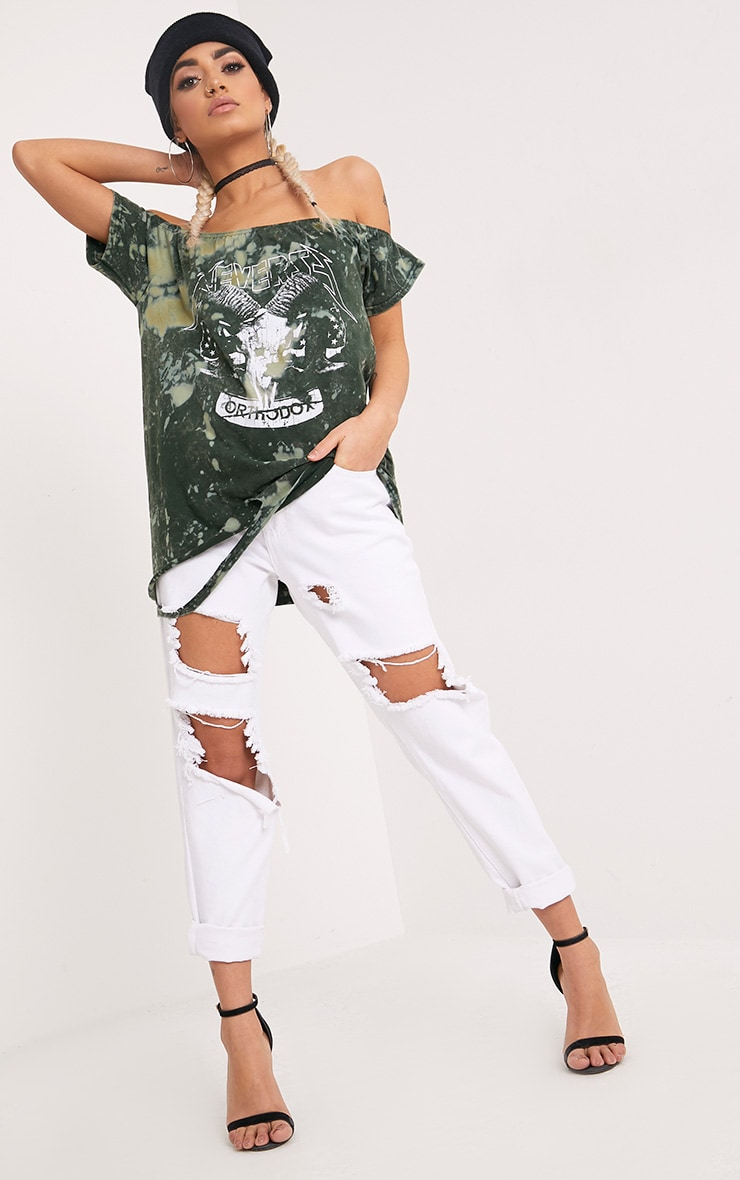 Briar Khaki Bleach Bardot Destroyed Hem Slogan T Shirt 4