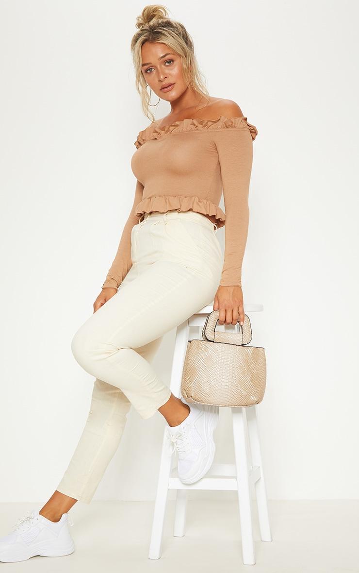 Dark Camel Bardot Frill Jersey Crop Top