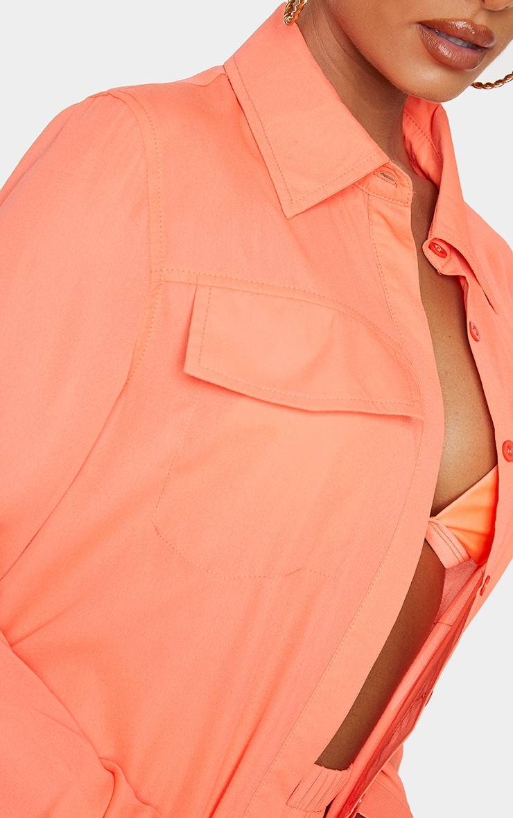 Coral Oversized Beach Shirt 4