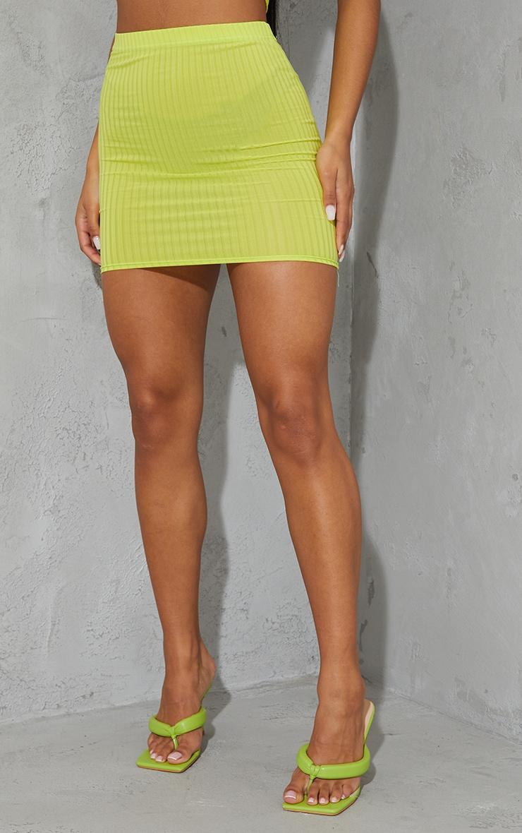Lime Green Rib Mini Skirt 2
