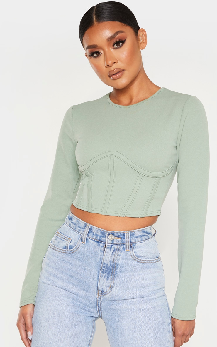 Sage Crepe Structured Underbust Crop Top 1